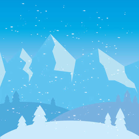 Beautiful winter landscape. Winter background - Vector illustration design