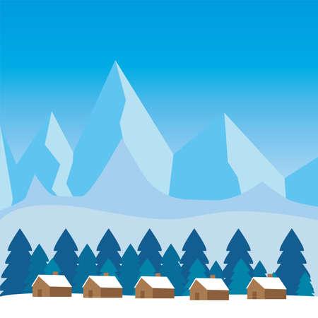 Schöne Winterlandschaft. Winter-Hintergrund - Vektor-Illustration-Design Vektorgrafik