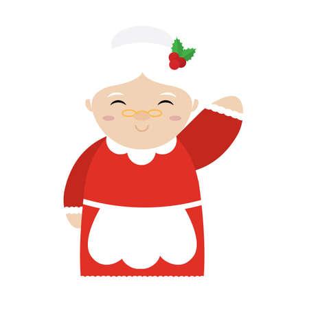Isolated mrs claus cartoon. Christmas season - Vector illustration design