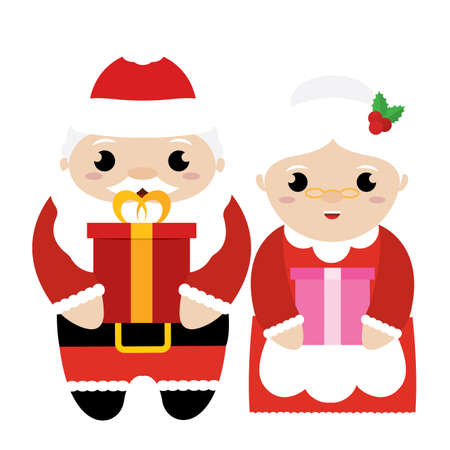 Santa Claus and mrs Claus. Christmas characters - Vector illustration design