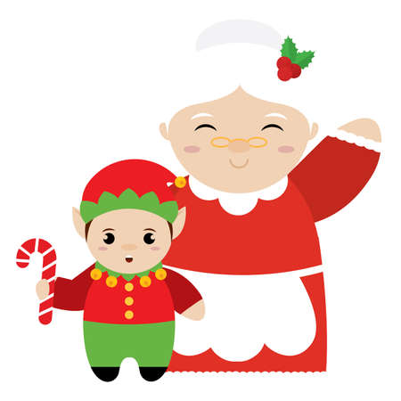 Mrs Claus and christmas elf - Vector illustration design