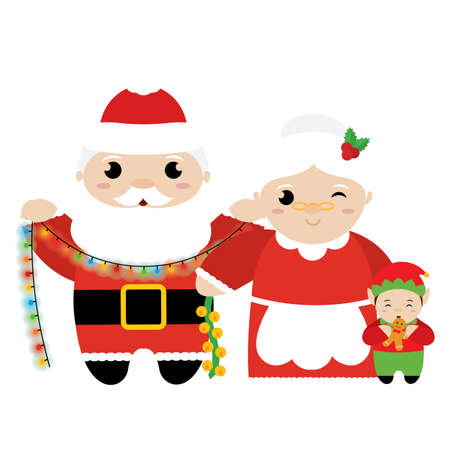 Santa Claus and mrs Claus with an elf. Christmas characters - Vector illustration design