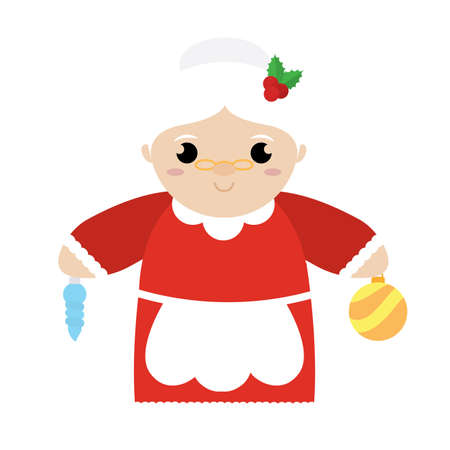 Isolated mrs claus cartoon. Christmas season - Vector illustration design Vettoriali