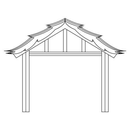 Isolated wooden manger hut - Vector illustration design