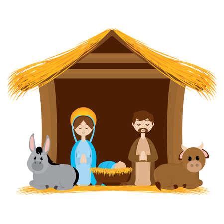 Beatiful manger image. Christmas season - Vector illustration design