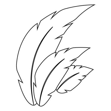 Isolated feathers image on a white background - Vector Çizim