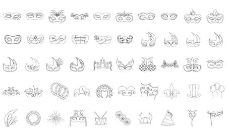 Set of mardi gras icons - Vector illustration Stock Illustratie