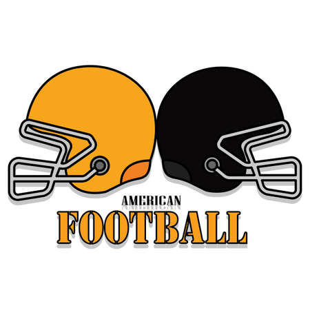 Isolated american football helmets with text. Sport uniform - Vector