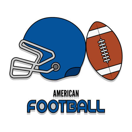 Helmet and american football ball with text - Vector illustration