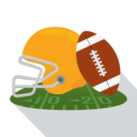 Helmet and american football ball over a field button - Vector illustration 일러스트