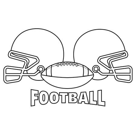 Helmets and american football ball with text - Vector illustration 일러스트