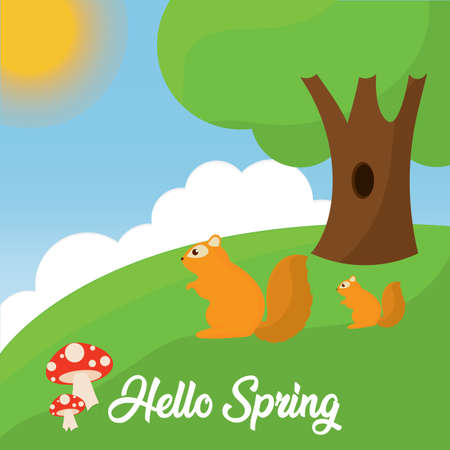Hello spring landscape with a squirrels - Vector