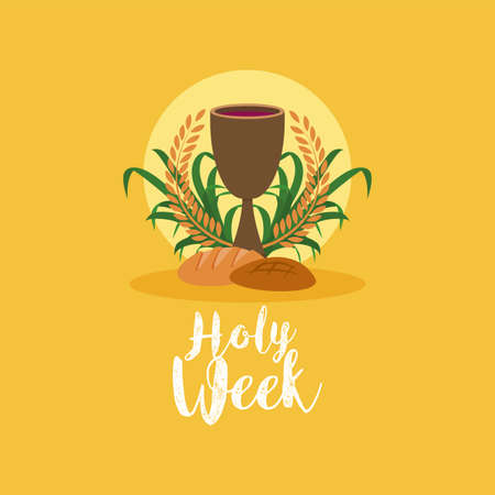 Holy week card with chalice and bread - Vector