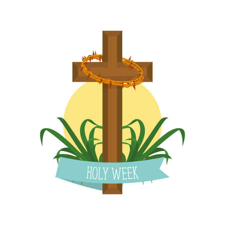 Holy week illustration. Cross and crown of thorns- Vector illustration