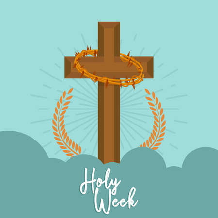 Holy week card with a cross - Vector