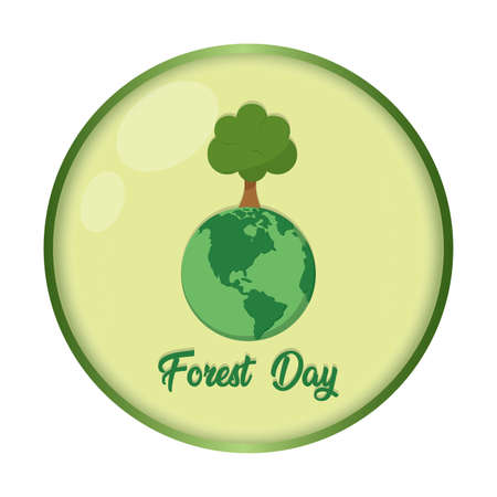 Forest day porter with an earth planet and tree - Vector illustration Stock Illustratie