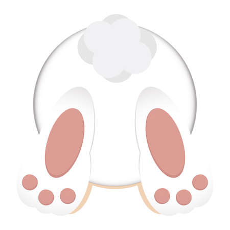 Isolated bunny rear view. Cute rabbit - Vector illustration