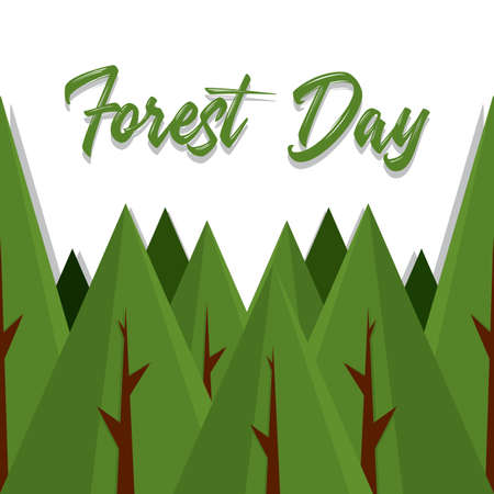 Forest day porter with a trees - Vector illustration Stock Illustratie