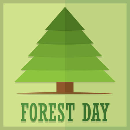 Forest day porter with a tree - Vector illustration