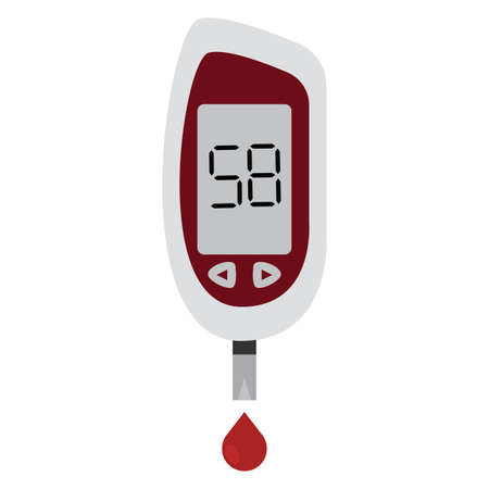 Isolated glucometer icon with a blood drop. Medical icon - Vector