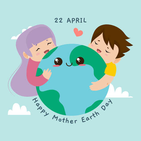 Happy mother earth day card. Kids hugging planet earth - Vector illustration