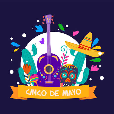 5 De mayo poster. Decorated mexican skull, hat, guitar, cactus, maracas adn flowers - Vector Stock Illustratie