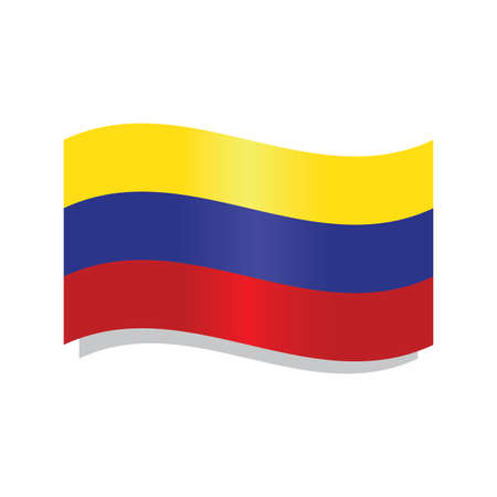 Isolated waving flag of Colombia - Vector illustration
