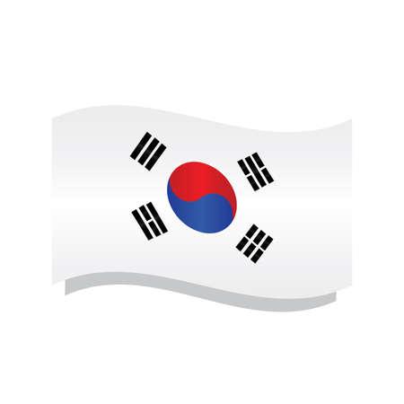 Isolated waving flag of South Korea - Vector illustration