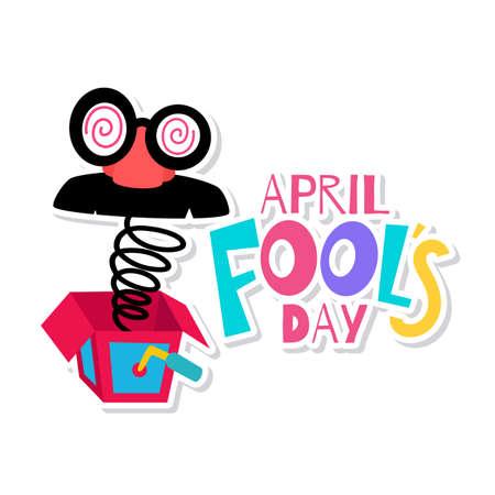 April fools poster. Joke box with a joke mask - Vector illustration Ilustración de vector