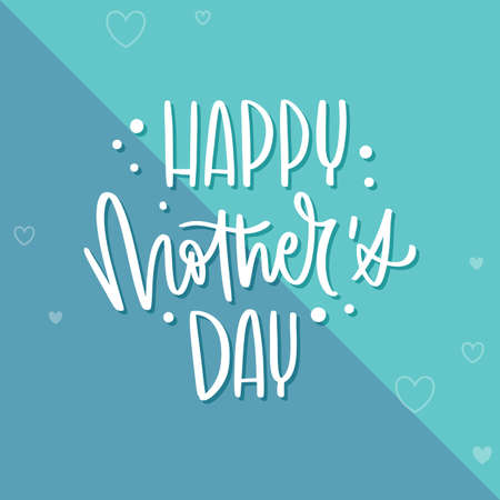 Happy mothers day card with text and hearths - Vector