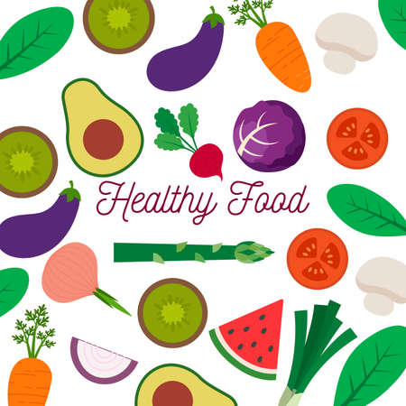 Healthy food poster. Fruits and vegetables background - Vector illustration