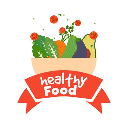 Healthy food poster. Vegetables bowl - Vector illustration