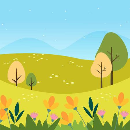 Beautiful natural landscape. Summer background - Vector illustration Vetores