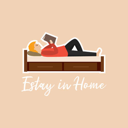 Man lying reading in bed. Stay in home - Vector