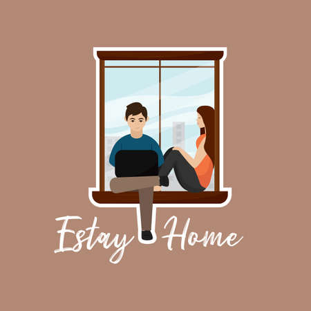 Couple sitting at the window. Stay in home poster - Vector
