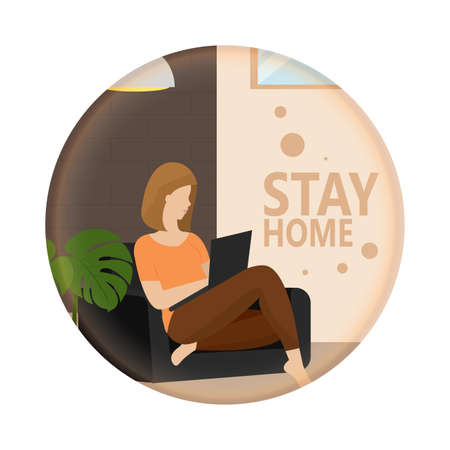 Woman studying or working in the living room. Stay in home - Vector