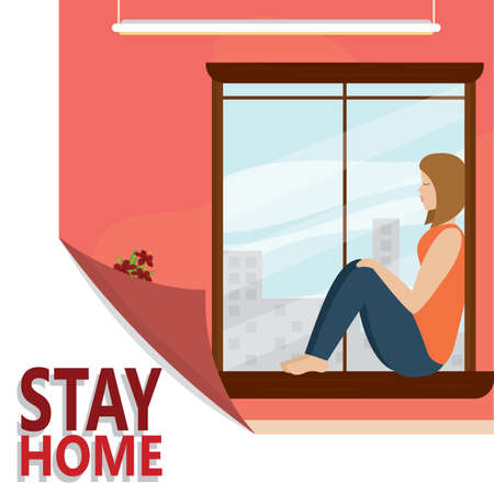 Woman sitting on a window. Stay in home - Vector