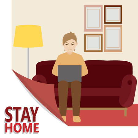 Man studying or working in the living room. Stay in home - Vector