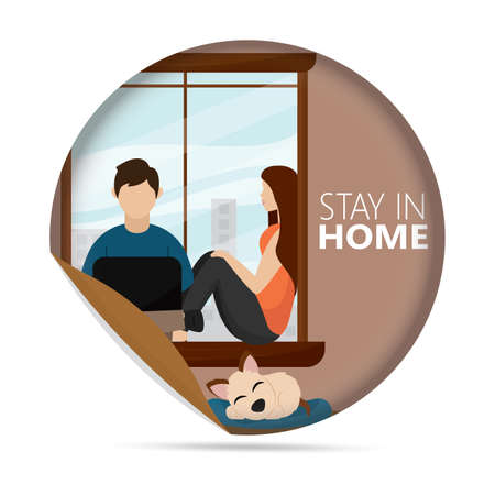 Couple sitting at the window with a dog. Stay in home poster - Vector Stock Illustratie