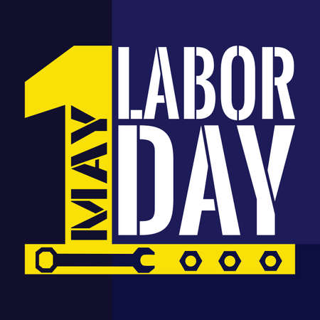 Labor day poster with number and wrenchs - Vector illustration
