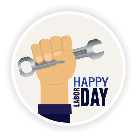 Labor day poster. Wrench in a hand - Vector illustration