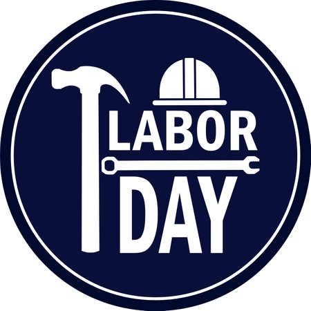 Labor day poster. Construction helmet, hammer and wrenchs - Vector illustration