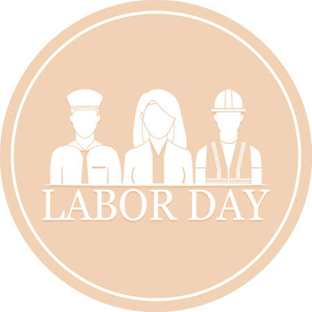 Labor day poster. Cartoons of a woman doctor, engineer an policeman - Vector illustration Vectores