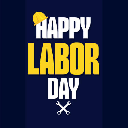 Labor day poster. Construction helmet and wrenchs - Vector illustration