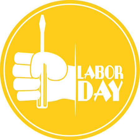 Labor day poster. Screwdriver in a hand - Vector illustration Vectores