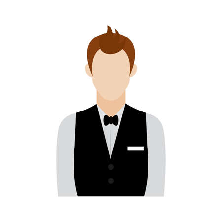 Isolated waiter icon. Professions or occupations icons - Vector