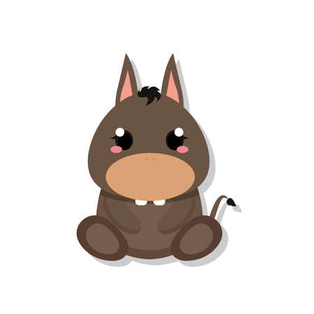 Isolated cute baby donkey. Domestic animal - Vector illustration