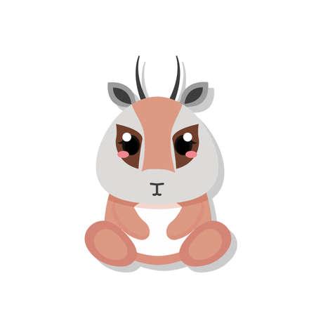 Isolated cute baby antelope. Wild animal - Vector illustration