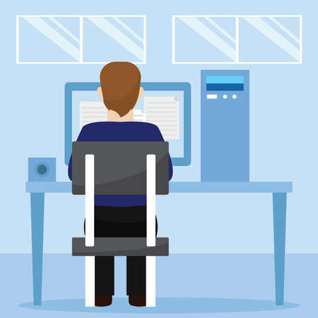 Young man studying in a workstation. Self Learning - Vector illustration