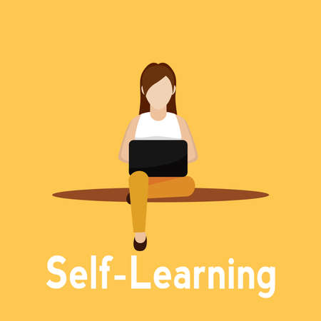 Young woman studying in a laptop. Self Learning - Vector illustration